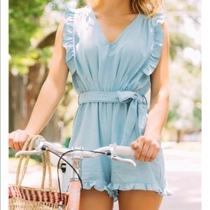Blue ruffle frill romper with bow 🎀